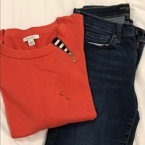 Nautica Coral sweater w/anchor zip
